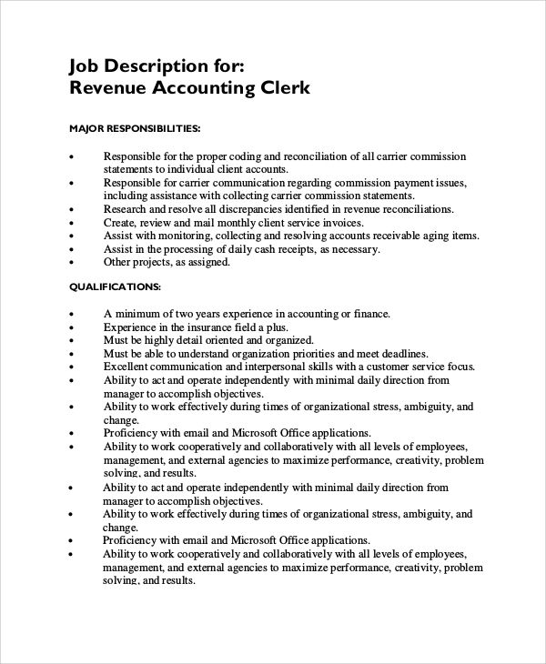 Payroll Clerk Job Description  KakTakTk
