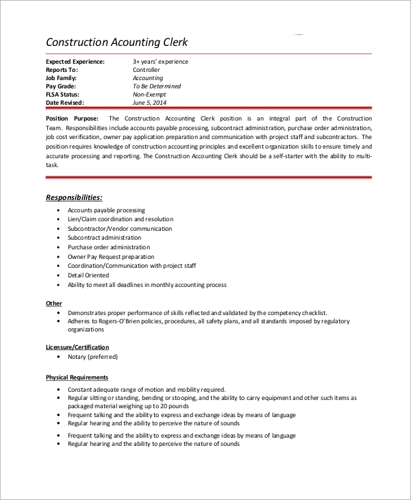 Accounting Clerk Job Description Sample