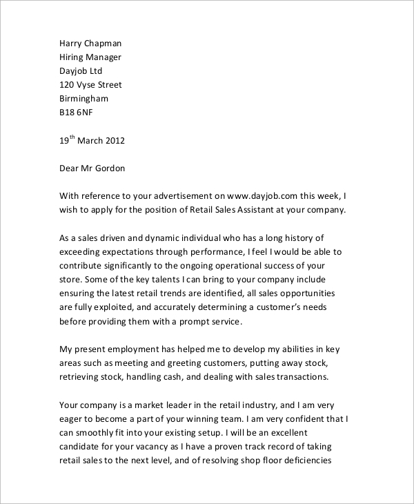 Retail Sales Assistant Cover Letter Sample