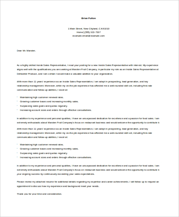 sample inside sales representative cover letter in word