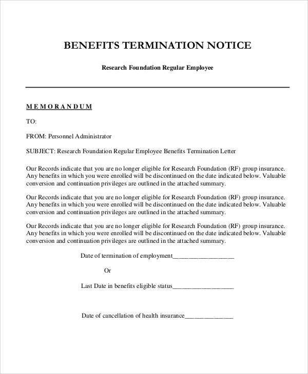 employee benefits termination letter
