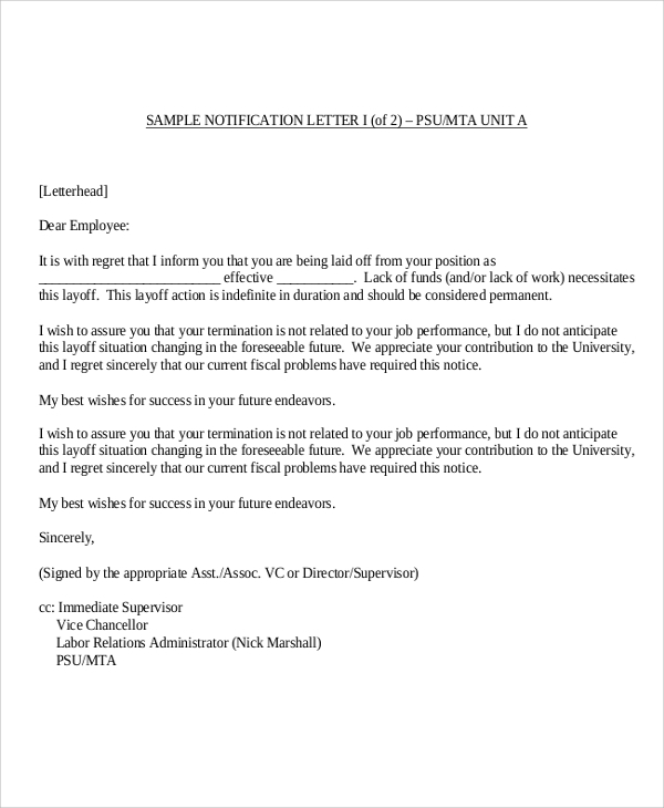 9+ Sample Employee Termination Letters - Word, PDF, Pages