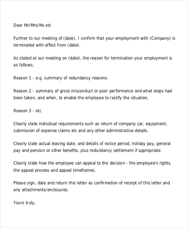 Sample Employee Termination Letter 8 Examples in Word PDF – Employee Termination Letter