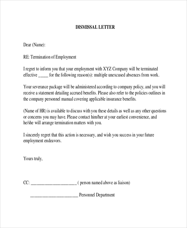 employee termination letter due to absence