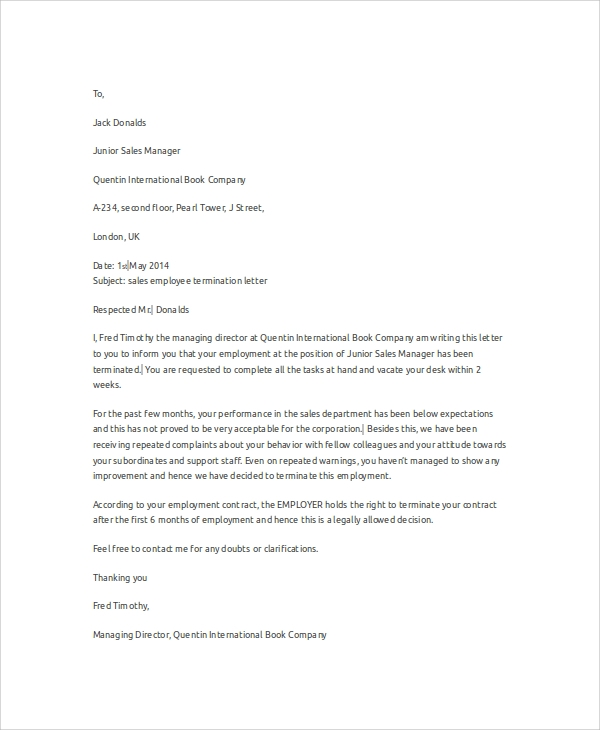 Employment Termination Letters Samples Golon Wpart Co