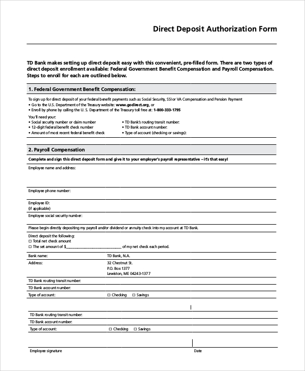 Sample Direct Deposit Authorization Form   Examples In Pdf Word