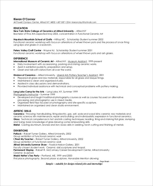 sample artist resume