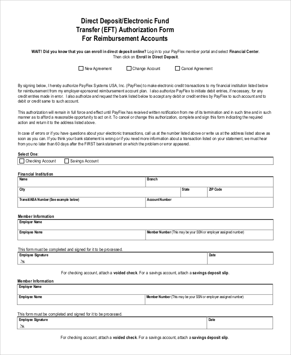 Great Eft Authorization Form Template Ideas  Example Resume
