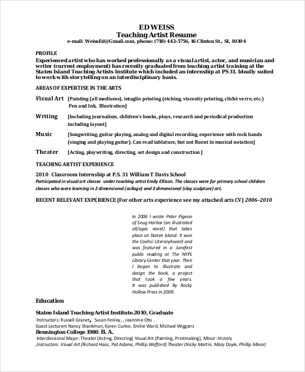 Sample Teaching Artist Resume Format