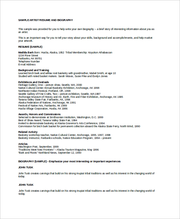 sample artist resume 8 examples in word pdf