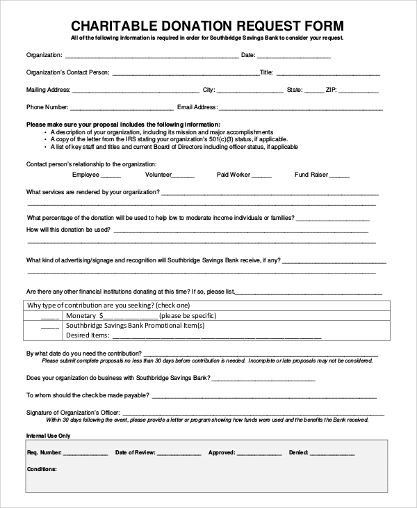 10 Sample Donation Request Forms Pdf Word