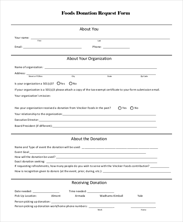 Sample Donation Request Form   Examples In Pdf Word