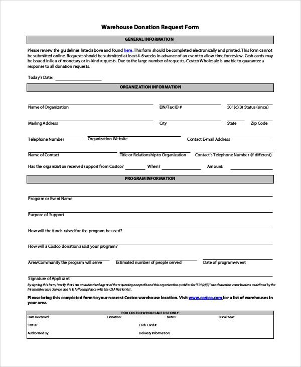 10  sample donation request forms