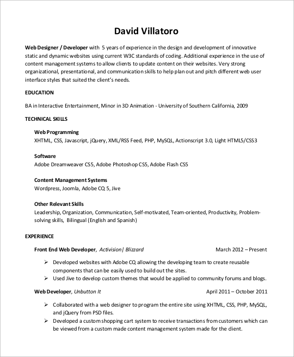 Sample Web Developer Resume   Examples In Word Pdf