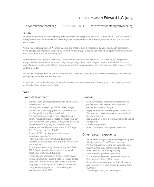 front end web developer resume