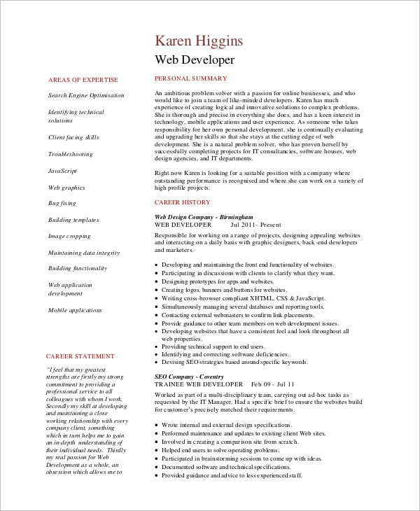 experienced web developer resume