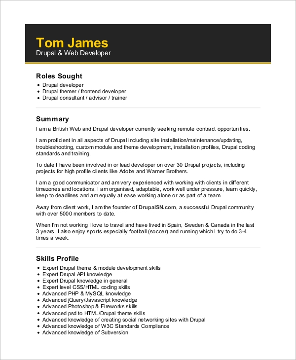 sle web developer resume 10 exles in word pdf