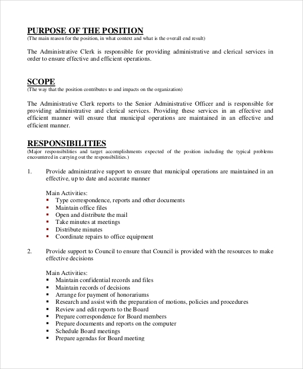 personal administrative assistant job description