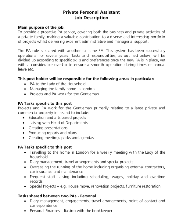 Sample Personal Assistant Job Description 9 Examples in PDF Word – Personal Assistant Job Description