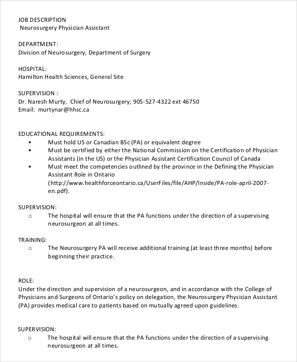 neurosurgery physician assistant job description sample