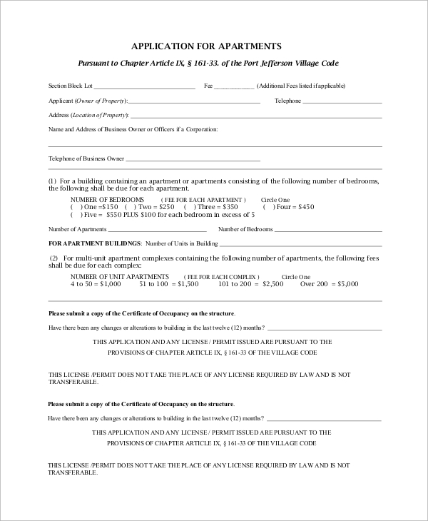 apartment license application
