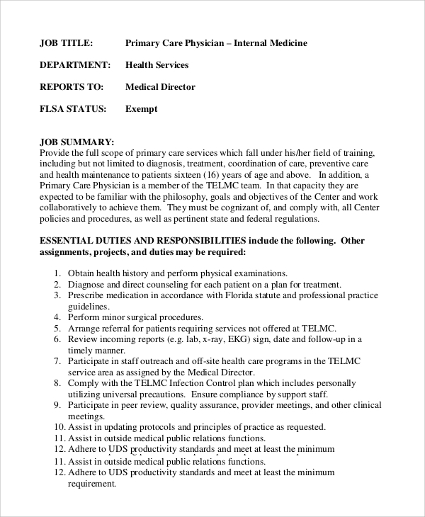 Sample Physician Assistant Job Description - 8+ Examples In Pdf, Word