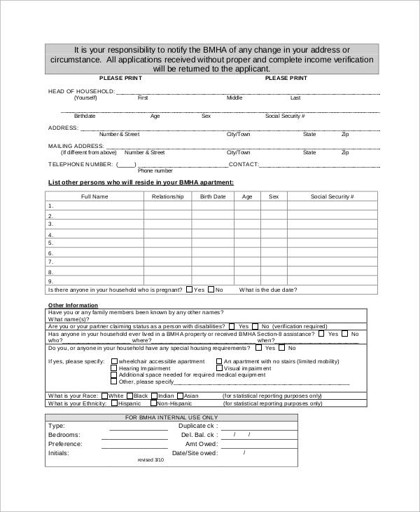 apartment application for public housing