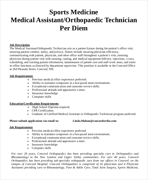 Sample Physician Assistant Job Description   Examples In Pdf Word