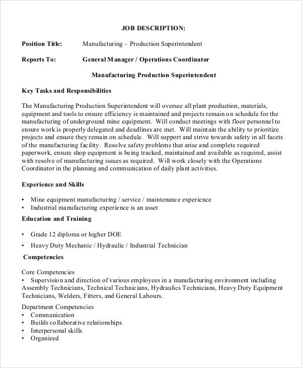 Sample Production Manager Job Description   Examples In Pdf Word