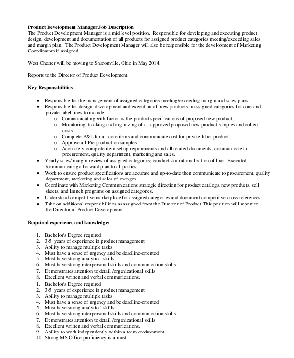 product development manager job description