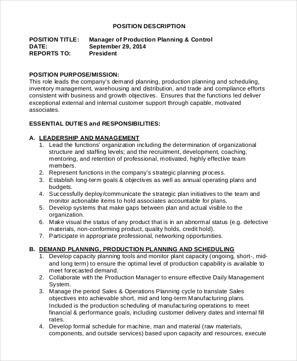 production planning and control manager job description inventory manager job description - Inventory Manager Job Description