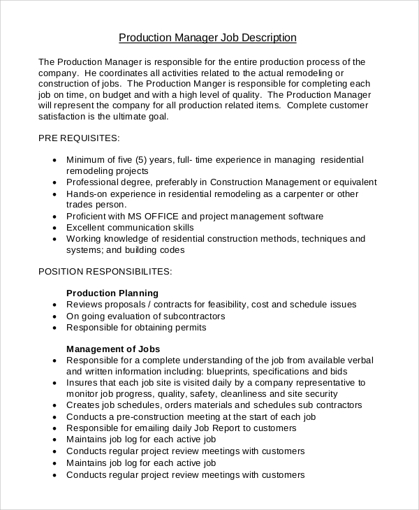 Sample Production Manager Job Description 10 Examples in PDF Word – Construction Manager Job Description