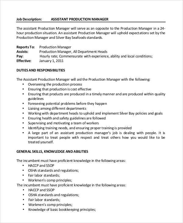 production manager assistant job description