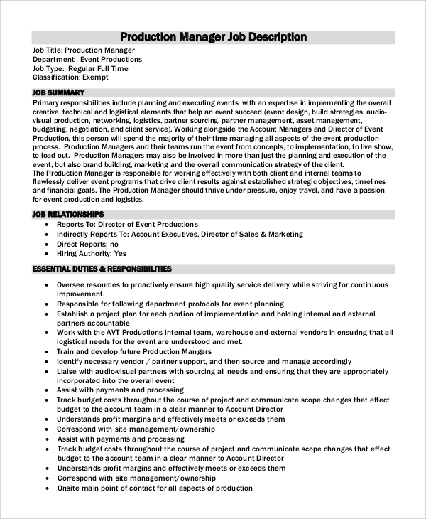 10 production manager job description samples sample for Events manager job description template