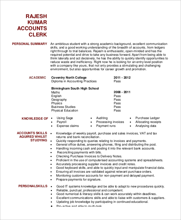 accounts clerk resume sample - Professional Accounting Resume Samples