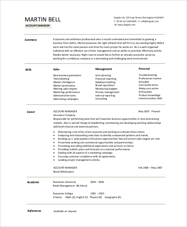Sample Accountant Resume - 10+ Examples In Word, Pdf