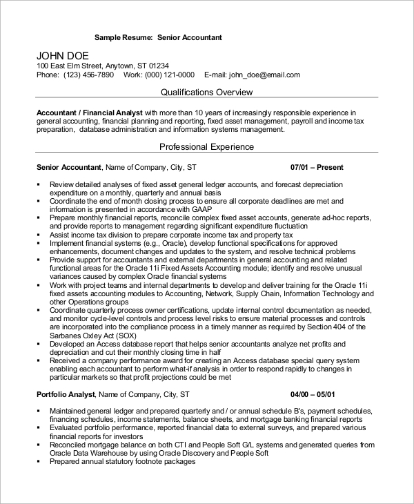 Sample Accountant Resume   Examples In Word Pdf