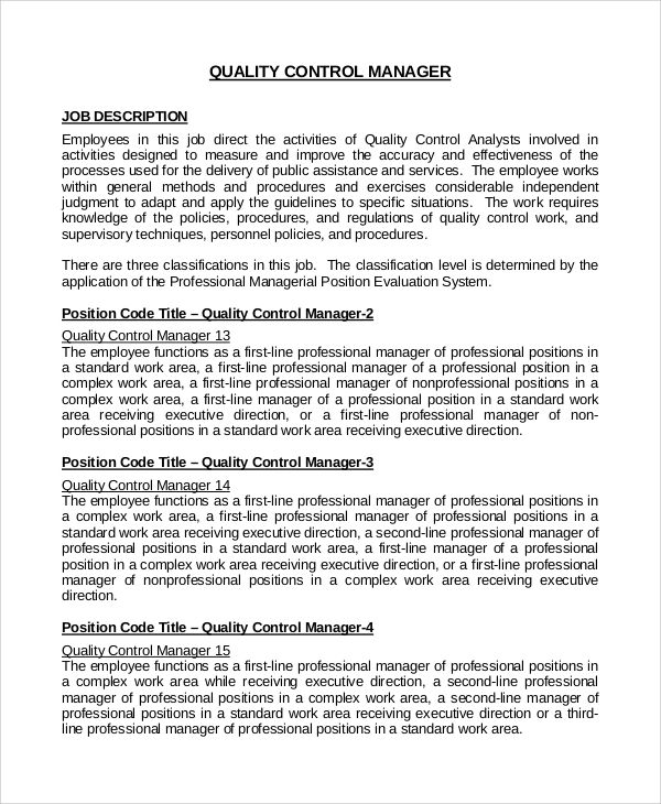Sample Quality Control Job Description 9 Examples in PDF Word – Quality Control Job Description