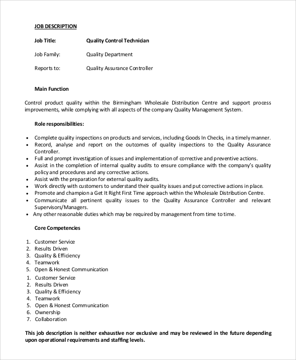Sample Quality Control Job Description 9 Examples in PDF Word – Controller Job Description