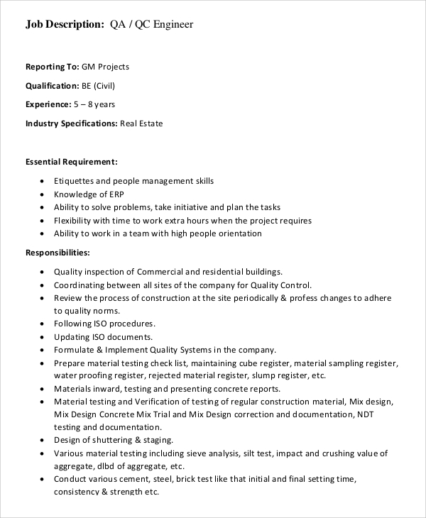 Civil Engineer Job Description Cover Letter Computer It Articles
