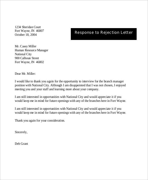 Sample rejection letter 8 examples in word pdf response to rejection letter after interview spiritdancerdesigns Choice Image