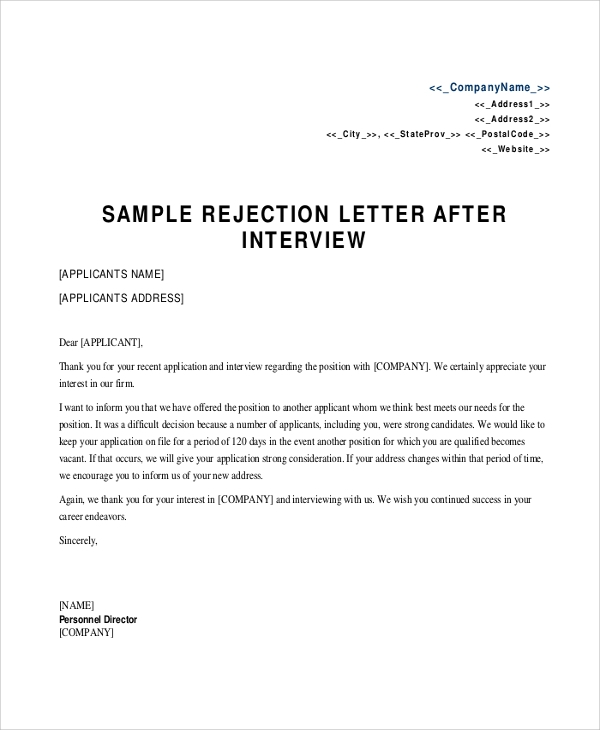 Sample Rejection Letter 8 Examples in Word PDF – Sample Applicant Rejection Letter