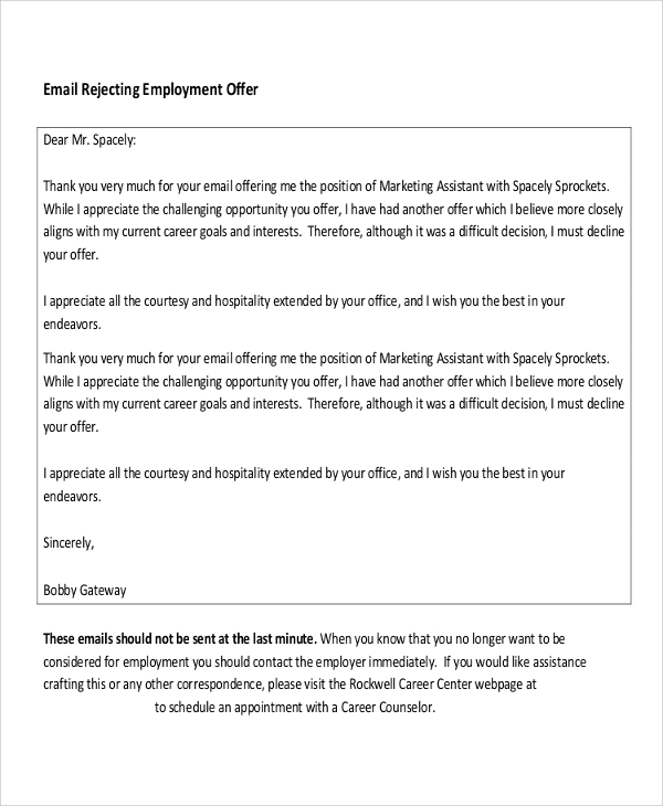 employment letter sample