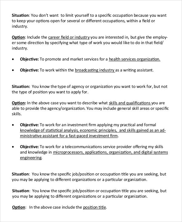 sample resume objective 9 examples in pdf - Simple Resume Objective Statements