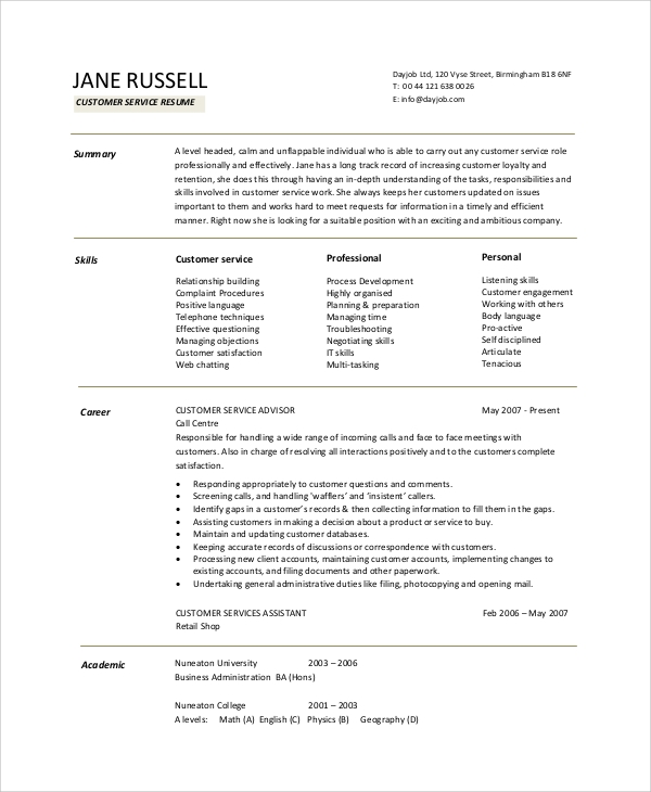 Customer Service Resume Objective Format
