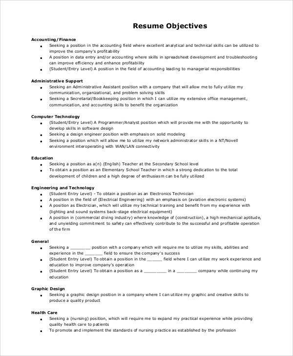 Sample Resume Objective Section