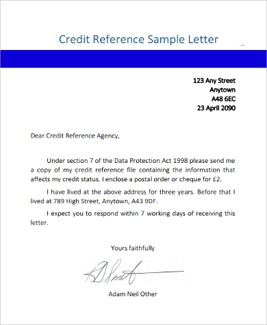 Reference Sample Letter   Examples In Word Pdf