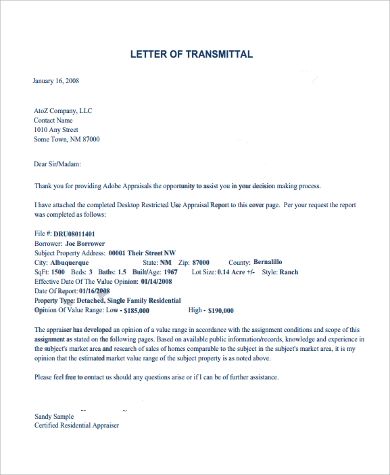 letter of transmittal appraisal in pdf