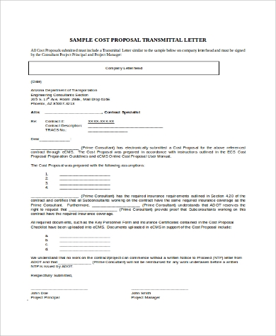Letter Of Transmittal Proposal In Word  Letter Of Transmittal For Proposal