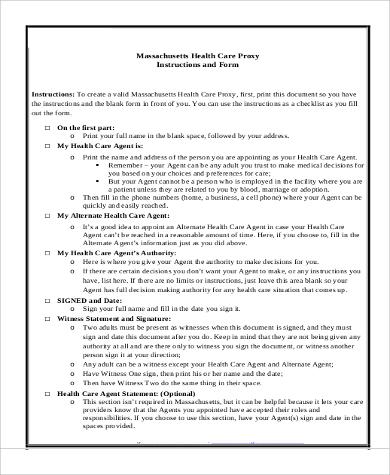 health care proxy instruction form